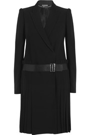 Alexander McQueen Leather-trimmed pleated crepe blazer