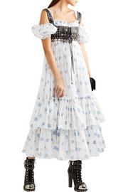 Alexander McQueen Cold-shoulder tiered floral-print cotton-voile maxi dress