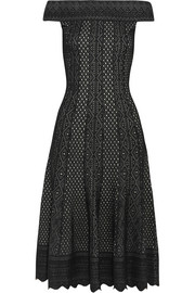 Off-the-shoulder jacquard-knit dress