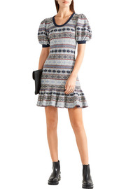 Fair Isle jacquard-knit silk-blend mini dress