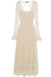 Ruffle-trimmed Shetland wool-lace maxi dress