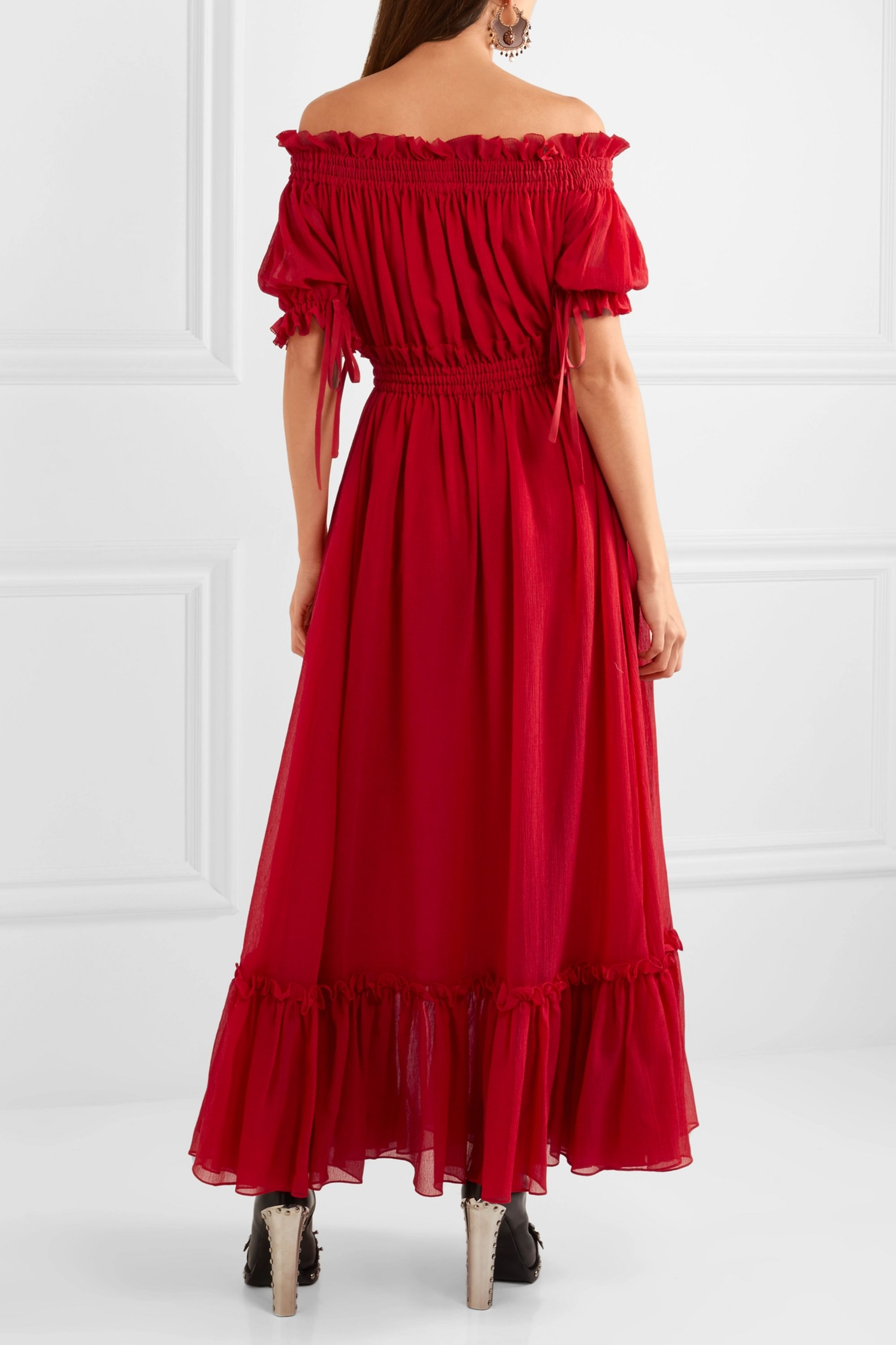 Alexander McQueen Off-the-shoulder shirred cotton and silk-blend crinkled-chiffon maxi dress