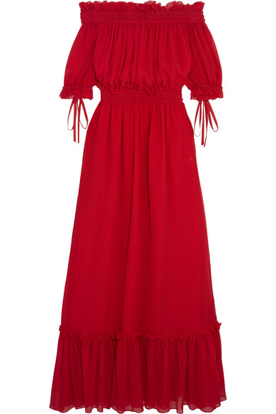 Alexander McQueen - Off-the-shoulder Shirred Cotton And Silk-blend Crinkled-chiffon Maxi Dress - IT38