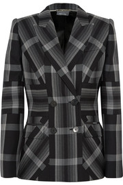 Checked silk and wool-blend blazer