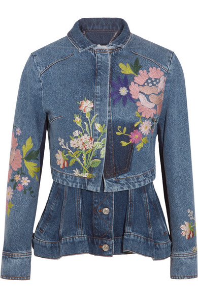 Alexander McQueen - Layered Embroidered Denim Jacket - Mid denim