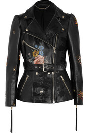 Alexander McQueen Embroidered painted leather biker jacket