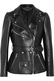 Alexander McQueen Belted leather biker jacket