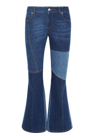 Patchwork cropped mid-rise flared jeans
