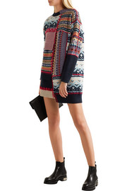 Alexander McQueen Patchwork chunky-knit wool-blend dress