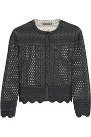 Cropped pointelle-knit cardigan