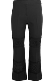 Cropped macramé-paneled wool and silk-blend flared pants