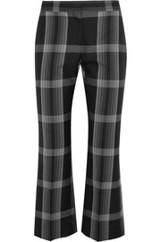 Cropped checked silk and wool-blend flared pants