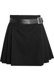 Alexander McQueen Pleated grain de poudre wool wrap mini skirt