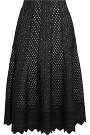 Pointelle-knit midi skirt
