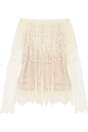Alexander McQueen Off-the-shoulder pompom-embellished silk-lace top