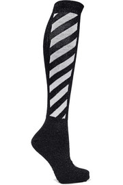 Metallic striped cotton-blend socks