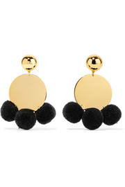 Elizabeth and James Stevie pompom-embellished gold-plated earrings