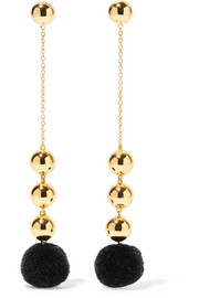 Elizabeth and James Boca gold-plated pompom earrings