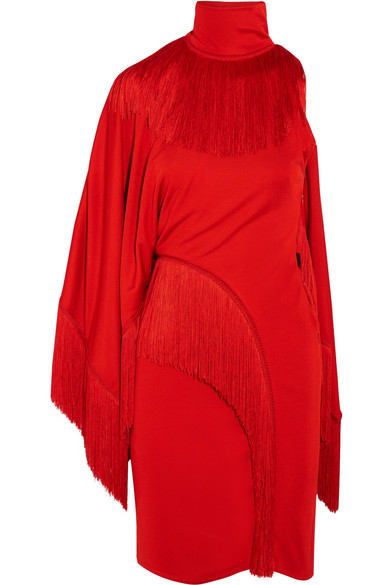 Givenchy Woman One-shoulder Fringed Jersey Turtleneck Mini Dress Red Size 36 Givenchy Free Shipping Official RANu178