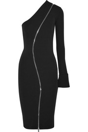 Givenchy One-shoulder zip-detailed stretch-jersey midi dress