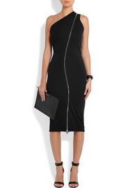 One-shoulder zip-detailed stretch-jersey dress