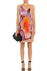 Givenchy Printed silk-satin and cotton-blend lace mini dress