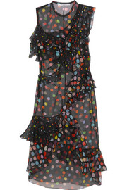 Ruffled polka-dot silk-chiffon dress