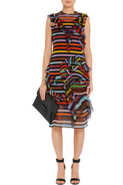 Givenchy Ruffled striped silk-chiffon dress