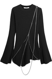 Givenchy Zip-detailed asymmetric ribbed-knit sweater