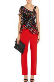 Givenchy Zip-detailed polka-dot silk-chiffon blouse