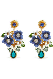 Dolce & Gabbana Gold-tone, crystal and enamel clip earrings