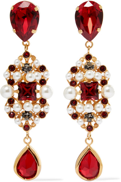 Dolce & Gabbana - Gold-tone, Swarovski Crystal And Faux Pearl Clip Earrings - one size