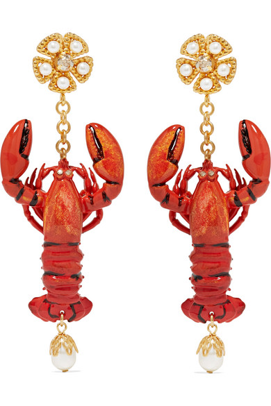 Dolce & Gabbana - Lobster Gold-tone, Enamel, Faux Pearl And Crystal Clip Earrings - Orange