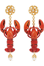 Dolce & Gabbana Lobster gold-tone, enamel, faux pearl and crystal clip earrings
