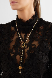 Dolce & Gabbana Gold-tone, crystal and faux pearl necklace