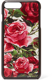 Floral-print textured-leather iPhone 7 case