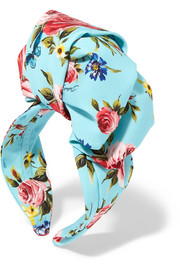 Floral-print silk-satin headband