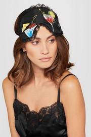 Dolce & Gabbana Lace-trimmed printed silk eye mask