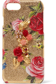 Embellished metallic textured-leather iPhone 7 case