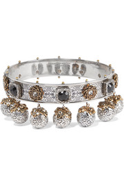 Alexander McQueen Silver and gold-plated Swarovski crystal choker