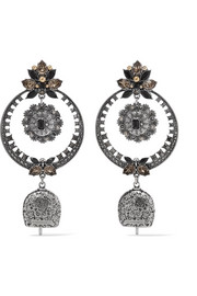 Alexander McQueen Silver-tone crystal and bead earrings