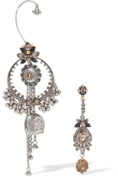 Alexander McQueen - Silver And Gold-tone Swarovski Crystal Earrings - one size