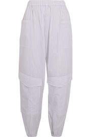 Striped cotton-poplin tapered pants