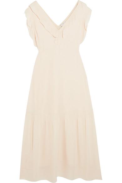 Vilshenko - Valencia Ruffled Silk-georgette Midi Dress - Cream