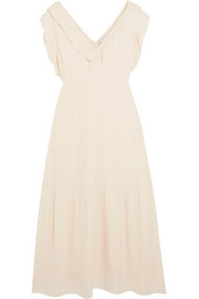 Valencia ruffled silk-georgette midi dress