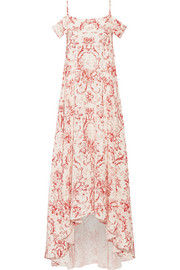 Elvira cold-shoulder printed silk crepe de chine maxi dress