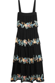 Salma tiered embroidered silk-georgette midi dress