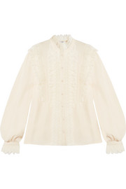 Ramona ruffled lace-trimmed silk-georgette blouse