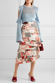 Radinka tiered printed silk crepe de chine midi skirt