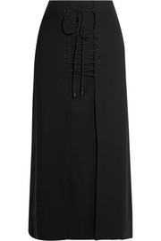Vera lace-up wool-canvas midi skirt